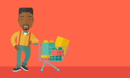A happy african-american man standing with his shopping cart. . A Contemporary style with pastel palette, orange tinted background. Vector flat design illustration. Horizontal layout with text space in right side.
