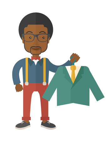 boutique display: A happy young african man chooses a perfect clothe to buy for him to wear. A contemporary style. Vector flat design illustration with isolated white background. Vertical layout