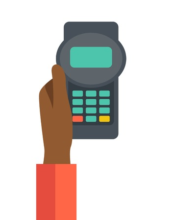 mobile banking: A black hand holding the credit card machine. A contemporary style. Vector flat design illustration with isolated white background. Vertical layout
