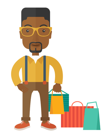 sexy male model: A black guy who go shopping with paper bags. A contemporary style. Vector flat design illustration with isolated white background. Vertical layout
