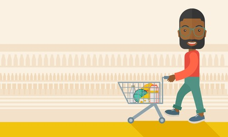 black male: A black male shopper pushing a shopping cart inside the supermarket. A Contemporary style with pastel palette, soft beige tinted background. Vector flat design illustration. Horizontal layout with text space in left side. Illustration