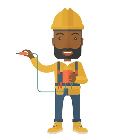 power cable: A young african electrician holding a power cable plug. A Contemporary style. Vector flat design illustration isolated white background. Vertical layout.