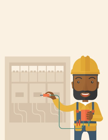 electrical panel: A black Electrician wearing hard hat repairing an electrical panel. A Contemporary style with pastel palette, soft beige tinted background. Vector flat design illustration. Vertical layout with text space on top part.