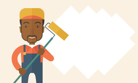 scraper: A young african glass cleaner wearing hat holding stick rubber scraper. A Contemporary style. Vector flat design illustration isolated white background. Horizontal layout with text space in right side.