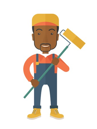 scraper: A young african glass cleaner wearing hat holding stick rubber scraper. A Contemporary style. Vector flat design illustration isolated white background. Vertical layout.