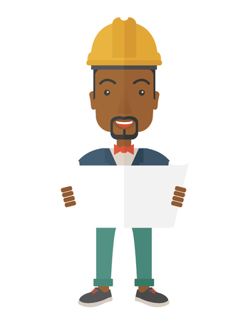 A young african-american engineer holding while reviewing the construction plan. A Contemporary style. Vector flat design illustration isolated white background. Vertical layout.
