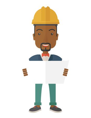 ingeniero: Un joven ingeniero afroamericana sosteniendo al revisar el plan de construcci�n. Un estilo contempor�neo. Aislado Vector dise�o plano ilustraci�n de fondo blanco. Dise�o vertical.