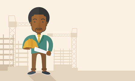 architect: A happy young african construction worker holding hard hat and blueprint plan. A Contemporary style with pastel palette, soft beige tinted background. Vector flat design illustration. Horizontal layout with text space in right side.