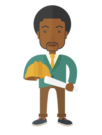 A happy black young construction worker holding hard hat and blueprint plan. A Contemporary style. Vector flat design illustration isolated white background. Vertical layout. Vector