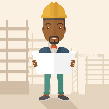 contractor: A young african-american engineer holding while reviewing the construction plan. A Contemporary style with pastel palette, soft beige tinted background. Vector flat design illustration. Square layout.