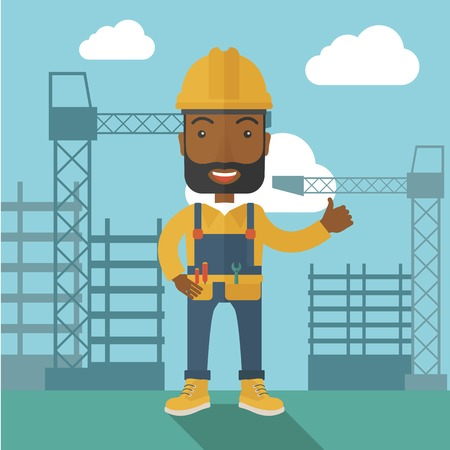heavy construction: A black construction worker standing with crane tower background. A Contemporary style with pastel palette, soft blue tinted background with desaturated clouds. Vector flat design illustration. Square layout. Illustration