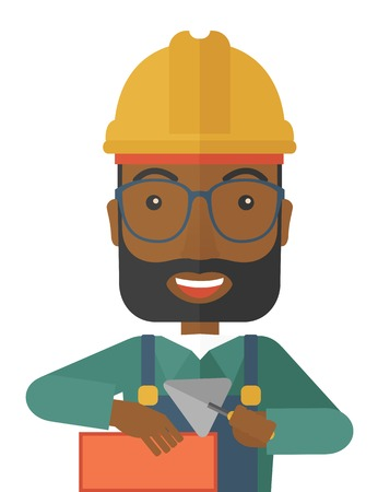 hand trowel: A happy black construction mason worker with trowel in hand wearing hard hat. A Contemporary style. Vector flat design illustration isolated white background. Vertical layout.