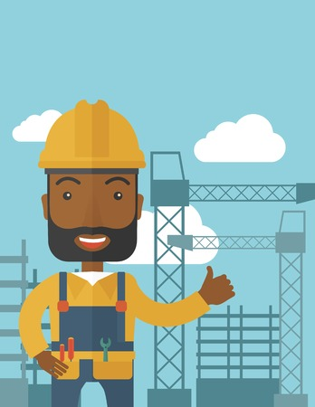 heavy construction: A black construction worker standing with crane tower background. A Contemporary style with pastel palette, soft blue tinted background with desaturated clouds. Vector flat design illustration. Vertical layout with text space on top part.