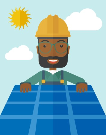solar panel roof: An african man putting a solar panel on the roof as a alternative energy system. A Contemporary style with pastel palette, soft blue tinted background with desaturated cloud.  Vector flat design illustration. Vertical layout