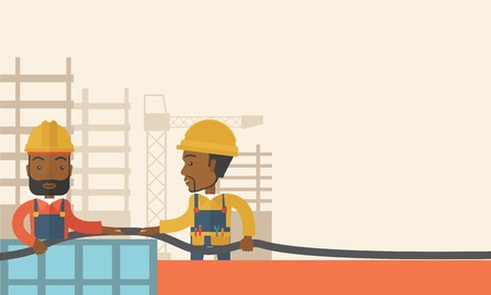 inches: A two black young builders wearing hard hat for their safety ladders use for construction. A Contemporary style with pastel palette, soft beige tinted background. Vector flat design illustration. Horizontal layout with text space in right side. Illustration