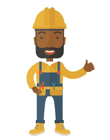A happy black carpenter standing wearing hard hat and overalls. A Contemporary style. Vector flat design illustration isolated white background. Vertical layout.