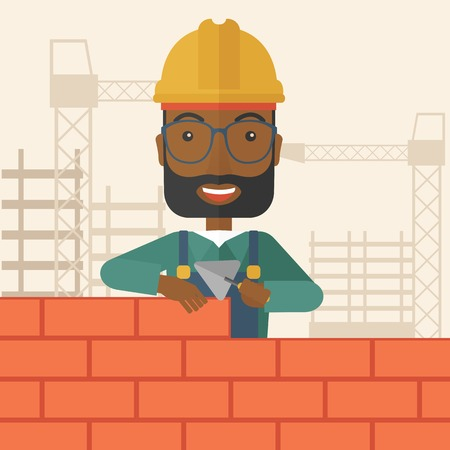 etnic: A smiling black builder wearing a hard hat buiding a brick wall. A Contemporary style with pastel palette, soft beige tinted background. Vector flat design illustration. Vertical layout with text space on top part.