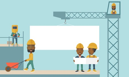 engineering design: An experienced team black workers with white board wearing helmets. A Contemporary style with pastel palette, soft blue tinted background. Vector flat design illustration. Horizontal layout.
