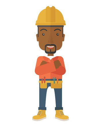 head protection: An african-american constructions worker wearing hard hat for protection of his head. Working concept. A contemporary style. Vector flat design illustration with isolated white background. Vertical layout.