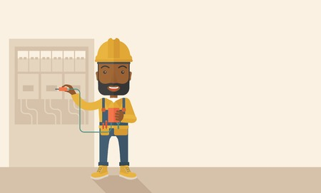 manual test equipment: A black Electrician wearing hard hat repairing an electrical panel. A Contemporary style with pastel palette, soft beige tinted background. Vector flat design illustration. Horizontal layout with text space in right side.