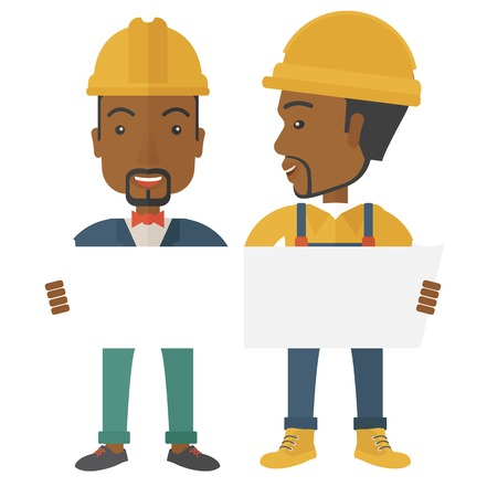 Een twee jonge zwarte architecten het dragen van helmen looing op blauwdruk. Een eigentijdse stijl. Vector platte ontwerp illustratie geïsoleerd witte achtergrond. Vierkante indeling. Stock Illustratie