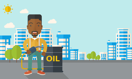desaturated: An african businessman standing beside the oil can with pump infront of the buildings. A Contemporary style with pastel palette, soft blue tinted background with desaturated clouds. Vector flat design illustration. Horizontal layout.