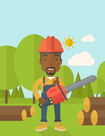 A black Lumberjack with hard hat as protection cuts a tree by chainsaw under the heat of the sun. A Contemporary style with pastel palette, soft blue tinted background with desaturated clouds. Vector flat design illustration. Vertical layout with text spa