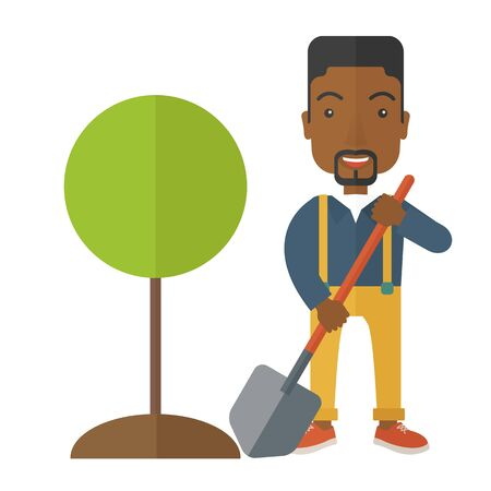 A happy african gardener planting a tree using in his yard using shovel under the heat of the sun. A Contemporary style. Vector flat design illustration isolated white background. Square layout.