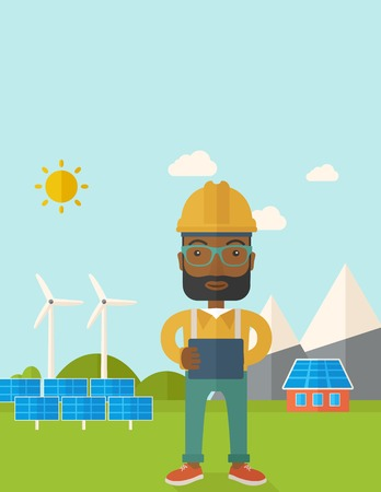 tex: A young african male standing while holding a blueprint monitoring the solar panels with wind turbine. A Contemporary style with pastel palette, soft blue tinted background with desaturated clouds. Vector flat design illustration. Vertical layout with tex