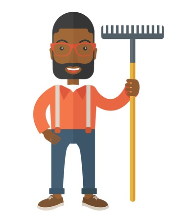loosening: A black man standing holding a rake ready for gardening. A Contemporary style. Vector flat design illustration isolated white background. Vertical layout.