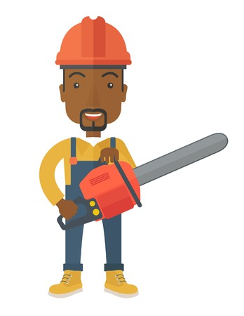 A black Lumberjack with hard hat as protection and chainsaw. A Contemporary style. Vector flat design illustration isolated white background. Vertical layout