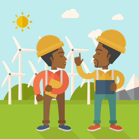 steel mill: A two black workers wearing hard hat talking infront of windmills under the sun. A Contemporary style with pastel palette, soft blue tinted background with desaturated clouds. Vector flat design illustration. Square layout. Illustration