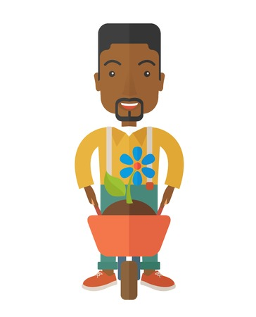 man pushing: A black man pushing a wheelbarrow carries a plant with flower. A Contemporary style. Vector flat design illustration isolated white background. Vertical layout.
