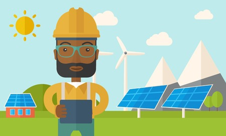 cartoon wind: A young african male standing while holding a blueprint monitoring the solar panels with wind turbine. A Contemporary style with pastel palette, soft blue tinted background with desaturated clouds. Vector flat design illustration. Horizontal layout.
