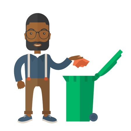 black and red: A black man throwing a crumpled paper in a green garbage bin. A Contemporary style. Vector flat design illustration isolated white background. Square layout.