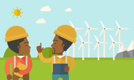 steel mill: A two black workers wearing hard hat talking infront of windmills under the sun. A Contemporary style with pastel palette, soft blue tinted background with desaturated clouds. Vector flat design illustration. Horizontal layout.