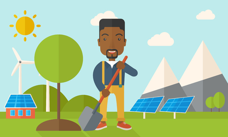 flat earth: A happy african gardener planting a tree using in his yard using shovel under the heat of the sun. A Contemporary style with pastel palette, soft blue tinted background with desaturated clouds. Vector flat design illustration. Horizontal layout.