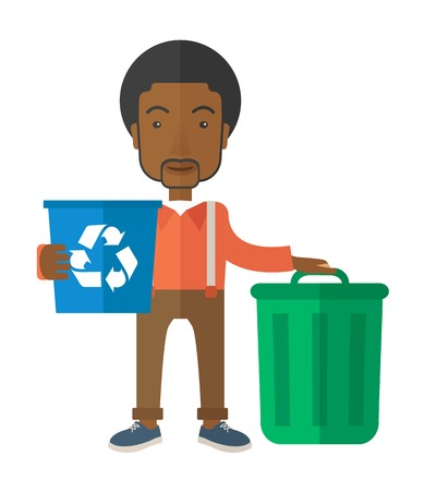 sorting: A black man standing outside the house sorting a trash and will throw to the barbage bin. Eco-friendly. A Contemporary style. Vector flat design illustration isolated white background. Vertical layout.