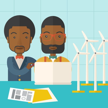 tinted: A two black workers using laptop with windmills as power generator. A Contemporary style with pastel palette, soft blue tinted background. Vector flat design illustration. Square layout.