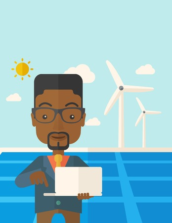 using laptop: An african man with laptop using the solar panel under the sun as power electricity. A Contemporary style with pastel palette, soft blue tinted background with desaturated clouds. Vector flat design illustration. Vertical layout with text space on top par