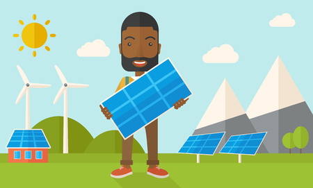 young man standing: A happy african young man standing while holding a solar panel under the heat of the sun. A Contemporary style with pastel palette, soft blue tinted background with desaturated clouds. Vector flat design illustration. Horizontal layout.