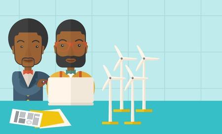 発電機: 風車と発電機としてノート パソコンを使用して 2 つの黒い労働者。パステル カラーのパレットで現代的なスタイル、柔らかめの青背景を彩色しました。ベクトル フラットなデザイン イラスト。右側のテキスト領域と水平方向のレイアウト。