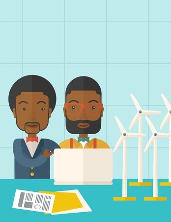 発電機: 風車と発電機としてノート パソコンを使用して 2 つの黒い労働者。パステル カラーのパレットで現代的なスタイル、柔らかめの青背景を彩色しました。ベクトル フラットなデザイン イラスト。縦置きレイアウト上部のテキスト領域にします。