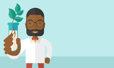 chemist: A black guy chemist holding a test tube with eco leaves. A Contemporary style with pastel palette, soft blue tinted background. Vector flat design illustration. Horizontal layout with text space in right side.
