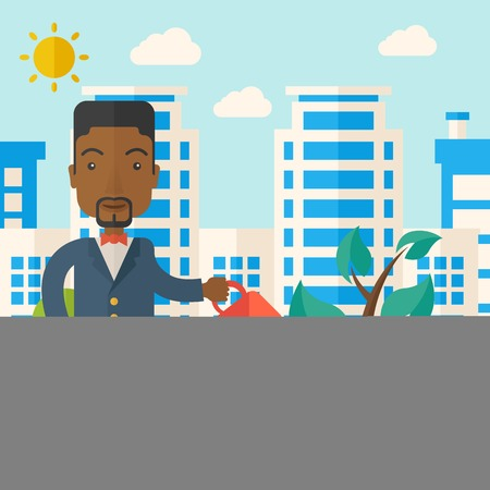 A black guy watering the growing plant as improving economy. A Contemporary style with pastel palette, soft blue tinted background with desaturated clouds. Vector flat design illustration. Square layout. Vettoriali