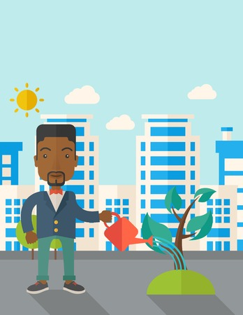 A black guy watering the growing plant as improving economy. A Contemporary style with pastel palette, soft blue tinted background with desaturated clouds. Vector flat design illustration. Vertical layout with text space on top part.