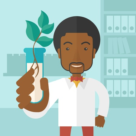 chemist: A black guy chemist holding a test tube with eco leaves. A Contemporary style with pastel palette, soft blue tinted background. Vector flat design illustration. Square layout. Illustration