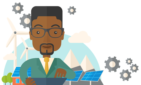 adult male: A mid adult male african engineer holding a blueprint in a solar panel. A Contemporary style with pastel palette, soft beige tinted background. Vector flat design illustration. Horizontal layout with text space on upper right side.