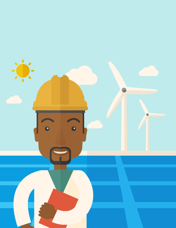 A black man wearing hardhat smiling under the heat of the sun with solar panels and windmills. A Contemporary style with pastel palette, soft blue tinted background with desaturated clouds. Vector flat design illustration. Vertical layout with text space  Vettoriali