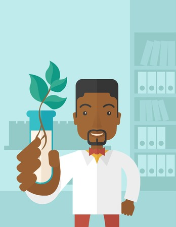 chemist: A black guy chemist holding a test tube with eco leaves. A Contemporary style with pastel palette, soft blue tinted background. Vector flat design illustration. Vertical layout with text space on top part.